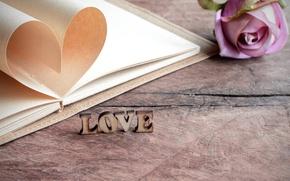 Картинка надпись, роза, Love, тетрадь, сердечко