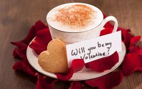 Картинка кофе, лепестки, печенье, записка, note, выпечка, пенка, coffee, cakes, petals, cookies, foam