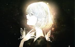 Картинка девушка, бабочки, by kuroe