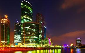 Картинка пейзаж, река, ночные огни, небоскребы, Город, Москва