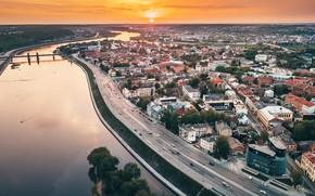 Картинка закат, город, Lietuva, Kaunas