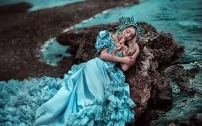Обои платье, сон, спящая красавица, настроение, Ксения Стрелкова, Мария Липина, море, побережье, ситуация