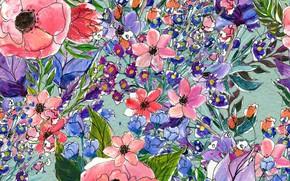 Обои Цветы, паттерн, pattern, seamless, Floral