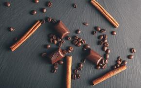 Картинка Шоколад, корица, кофейные зерна, деревянный фон