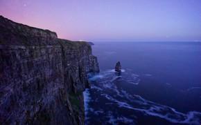 Картинка небо, вода, звезды, закат, океан, скалы, вечер, Ирландия, утесы, Ireland, Cliffs of Moher, утёсы Мохер, …