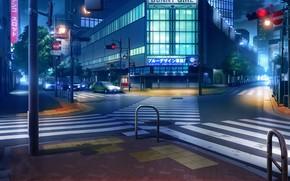 Картинка машины, ночь, огни, Япония, светофор, перекресток, переход, вывески, безлюдный город, дорожные знаки
