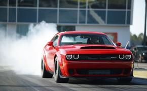 Картинка Challenger, Red, sportcar, smoke, race, speed, musclecar, track, SRT, Demon, 2017