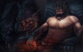 Картинка игра, арт, God of War, цербер, Бог, Аид, подземное царство