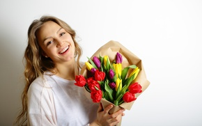 Картинка цветы, colorful, тюльпаны, love, romantic, tulips, gift