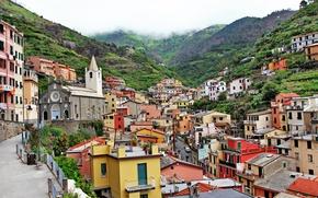 Картинка скалы, побережье, вилла, Италия, домики, Riomaggiore, travel