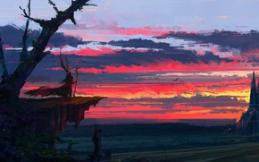 Обои sunset, twilight, castle, sorcerer, wizard, sky, fantasy, Aenami, artwork, clouds, painting, digital art, fantasy art, ...