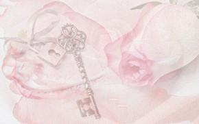 Картинка сердце, роза, картина, акварель, ключик