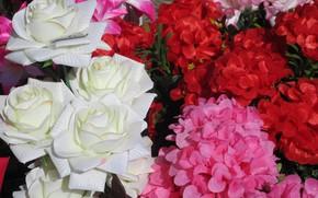 Картинка белые розы, разные, искуственные цветы, весна 2018, Meduzanol ©