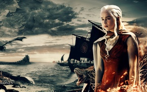 Обои war, boat, map, sea, Game of Thrones, queen, A Song of Ice and Fire, Targaryen, ...