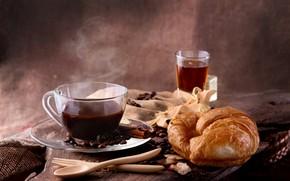 Картинка чай, кофе, корица, кофейные зерна, круассан