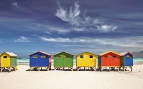 Картинка песок, море, берег, пляжный домик, Юар