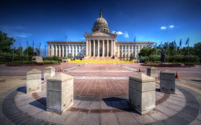 Картинка HDR, площадь, США, дворец, капитолий, Oklahoma State Capitol
