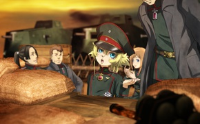 Картинка girl, soldier, chaos, military, war, anime, chibi, man, cap, blonde, asian, manga, tank, oriental, asiatic, …