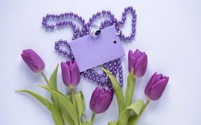 Картинка цветы, букет, тюльпаны, love, fresh, flowers, romantic, tulips, spring, purple, with love