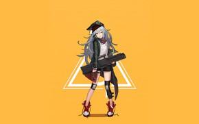 Картинка девушка, оружие, аниме, арт, кепка, жёлтый фон, наколенники, Girls Frontline, Девушки фронта
