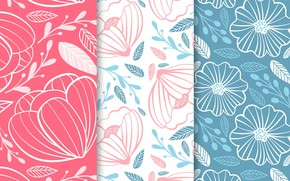 Картинка цветы, текстура, colorful, розовый фон, flower, patterns, голубой фон