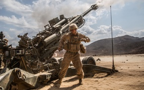 Картинка солдат, гаубица, полевая, M777, миллиметров, калибра 155, буксируемая