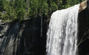 Картинка USA, США, Waterfall, Yosemite National Park, Йосемитский национальный парк, Йосемитский водопад