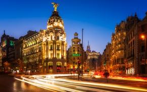 Картинка дорога, огни, движение, дома, вечер, выдержка, фонари, Испания, улицы, Мадрид