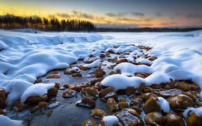 Картинка зима, снег, рассвет, утро, Финляндия, Joensuu