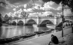 Картинка река, лодка, Англия, Лондон, арка, Ричмондский мост