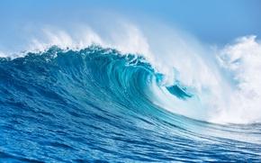 Обои море, вода, брызги, океан, волна, sea, ocean, blue, seascape, wave