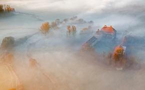 Картинка туман, замок, Германия, панорама, Оберверис, Хамм, Северный Рейн-Внстфалия