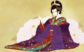 Картинка девушка, цветы, арт, гейша, кимоно