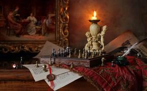 Обои шахматы, фигуры, свеча, статуэтки, картина, перо