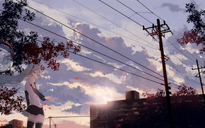 Картинка небо, девушка, город, восход, провода, аниме, утро, арт, vocaloid, hatsune miku, jin yun