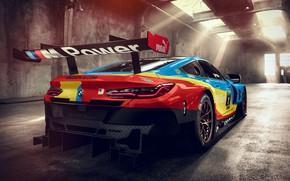 Обои BMW M8, вид сзади, GTE, гоночное авто, 2018