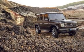 Картинка Mercedes-Benz, коричневый, порода, 2018, G-Class, карьер, отвалы