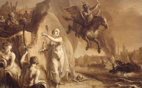 Картинка дерево, масло, картина, мифология, Аллегория Освобождения Нидерландов, Питер Симонс Поттер, Персей и Андромеда