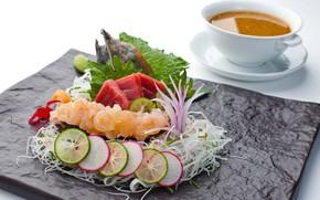 Картинка суп, овощи, морепродукты, тунец, сашими