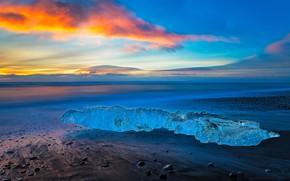 Обои берег, Исландия, облака, лед