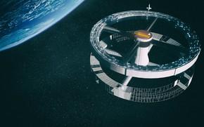 Картинка космос, планета, звёзды, станция, база