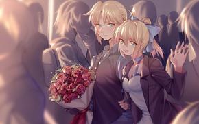 Картинка розы, букет, аниме, арт, двое, saber, fate/stay night, fate/apocrypha, yorukun