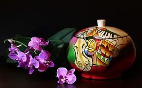 Картинка цветы, рисунок, ветка, ваза, натюрморт, орхидея