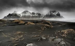 Картинка море, горы, туман, берег