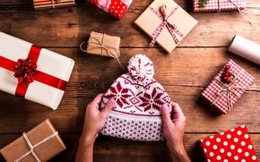 Картинка шапка, Новый Год, Рождество, подарки, Christmas, wood, Merry Christmas, Xmas, decoration, gifts, holiday celebration