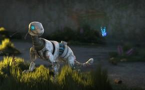 Обои бабочка, робот, арт, зверек, Sci-Fi