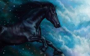 Обои конь, лошадь, масло, сказка, арт, акварель, карандаш, живопись, лошадка, гуашь, wallpaper., картина painting, небо ночь, ...