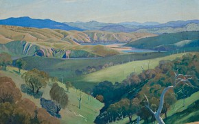Обои природа, пейзаж, картина, Elioth Gruner, Study for 'On the Murrumbidgee'
