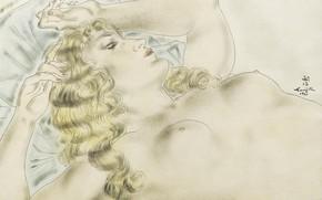 Картинка бумага, блондинка, акварель, карандаш, сиси, чернила, 1931, гуашь, Tsuguharu Foujita, Засыпающая Мадлен, размывка