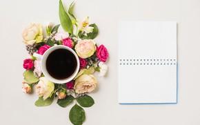 Обои цветы, кофе, блокнот, flower, notebook, cup, coffee, composition